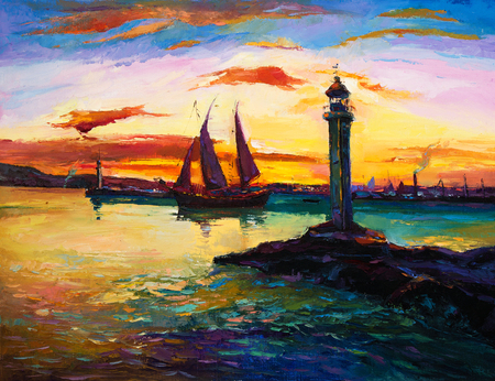 sun oil: Original oil painting of ships,lighthouse and harbor on canvas.Rich golden  Sunset over ocean.Modern Impressionism Stock Photo
