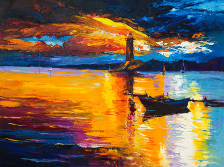 impressionism: Original oil painting of  lighthouse and boats on canvas.Rich golden  Sunset over ocean.Modern Impressionism