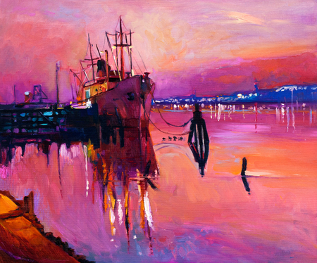 Original oil painting of fishing ship and jetty(pier) on canvas.Rich purple Sunset over ocean.Modern Impressionism photo