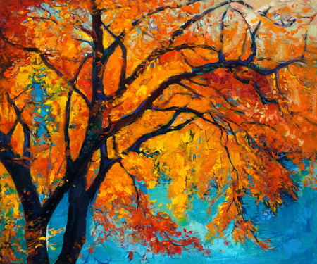 canvas texture: Original oil painting showing beautiful Autumn tree on canvas. Modern Impressionism Stock Photo