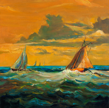 pier: Original oil painting of sailboats and sea on canvas.Rich golden Sunset over ocean.Modern Impressionism