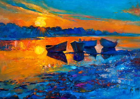 Original oil painting of boats and sea on canvas.Rich golden Sunset over ocean.Modern Impressionism
