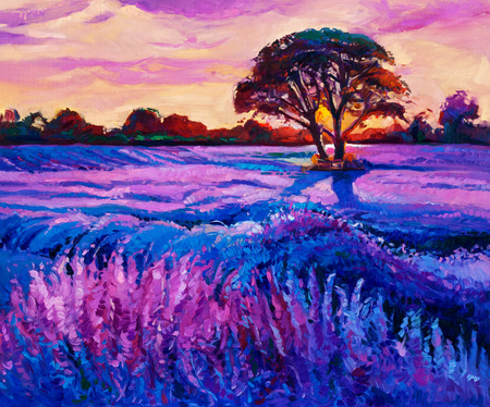 sunset painting: Original oil painting of lavender fields on canvas.Rich purple  Sunset landscape.Modern Impressionism