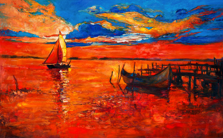 Original oil painting of fishing boats and sea on canvas.Rich golden Sunset over ocean.Modern Impressionism