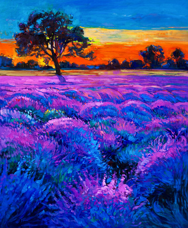 lavender oil: Original oil painting of lavender fields on canvas.Rich golden  Sunset landscape.Modern Impressionism