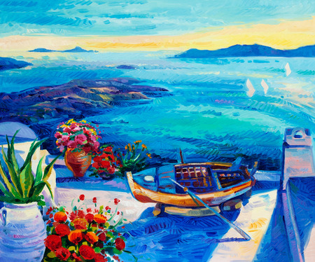 Original oil painting showing  white houses and flowers of Oia village at Santorini island with sea view. Greece.Modern Impressionism Stockfoto