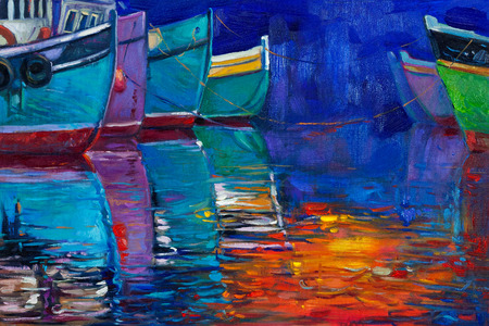 Original oil painting of boats and jetty(pier) on canvas. Sunset over ocean.Modern Impressionism photo