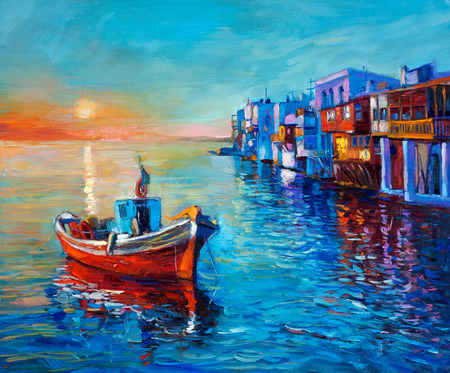 impressionism: Original oil painting of fishing boat and sea on canvas. Sunset over ocean and coastal town.Modern Impressionism
