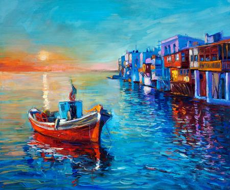 Pintura al óleo original del barco de pesca y el mar en la lona. Puesta de sol sobre el océano y el Impresionismo town.Modern costera