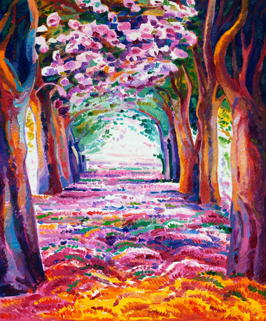 Original oil painting showing beautiful spring forest on canvas. Modern Impressionism Foto de archivo