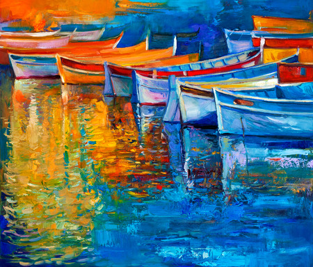 Original oil painting of boats and jetty(pier) on canvas. Sunset over ocean.Modern Impressionism