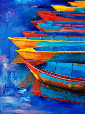 Origineel olieverfschilderij van boten en pier (pier) op doek. Sunset over ocean.Modern Impressionisme