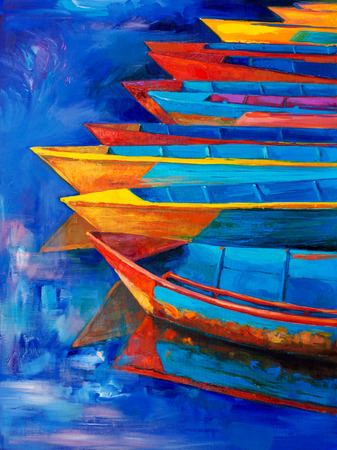 Pintura al óleo original de los barcos y el embarcadero (embarcadero) en la lona. Puesta de sol sobre ocean.Modern Impresionismo