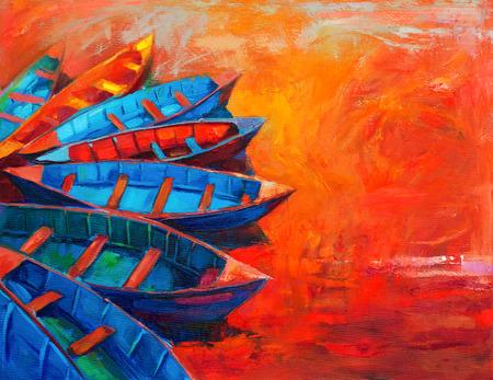 peinture: La peinture à l'huile originale de bateaux et jetée (quai) sur la toile. Coucher de soleil sur ocean.Modern impressionnisme Banque d'images