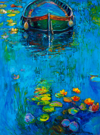 Original oil painting of boat and water lilies in river on canvas.Modern Impressionism Foto de archivo