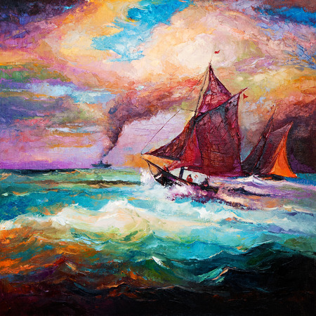 Original oil painting of sail ship and sea on canvas.Modern Impressionism photo