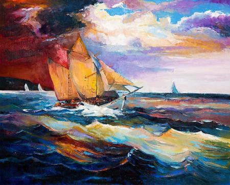 Origineel olieverfschilderij van het zeilschip en zee op canvas.Modern Impressionisme Stockfoto - 37835700