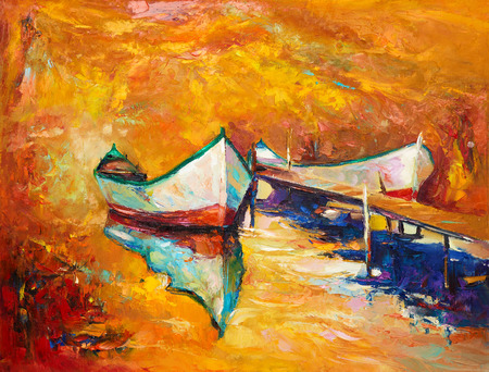 sunset painting: Original oil painting of boats and jetty(pier) on canvas.Rich golden Sunset over ocean.Modern Impressionism Stock Photo