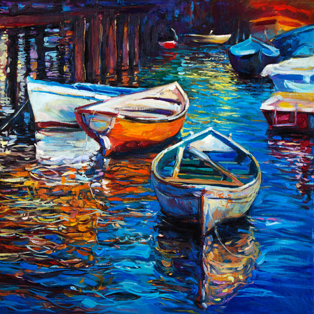 impressionism: Original oil painting of boats and jetty(pier) on canvas.Rich golden Sunset over ocean.Modern Impressionism Stock Photo