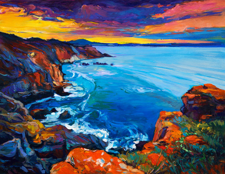 nature backgrounds: Original oil painting of  Ocean and cliffs on canvas.Rich golden  Sunset over ocean.Modern Impressionism Stock Photo