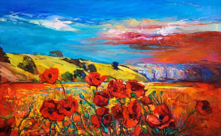 papaver: Original oil painting of Opium poppy( Papaver somniferum) field in front of beautiful sunset  on canvas.Modern Impressionism