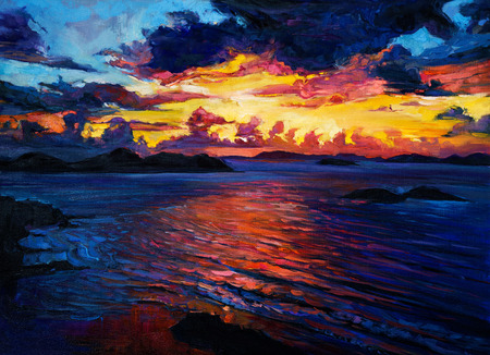 cliffs: Original oil painting of  Ocean and cliffs on canvas.Rich golden  Sunset over ocean.Modern Impressionism Stock Photo
