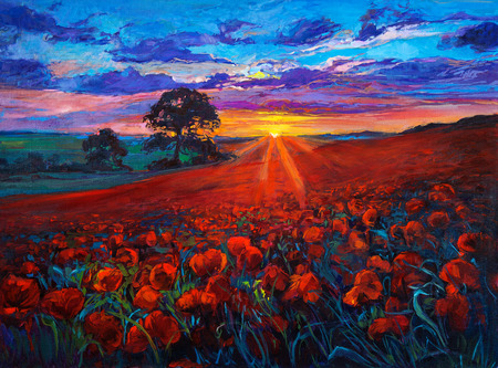Original oil painting of Opium poppy( Papaver somniferum) field in front of beautiful sunset  on canvas.Modern Impressionism