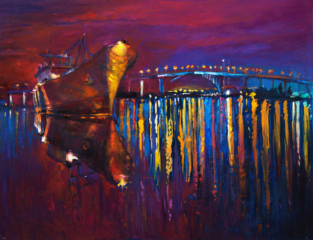 Original oil painting of cargo ship and sea on canvas.Modern Impressionism Stockfoto
