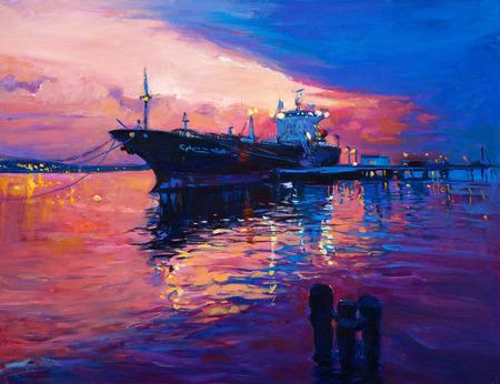 元貨物船とキャンバス上の海の油絵。現代印象派