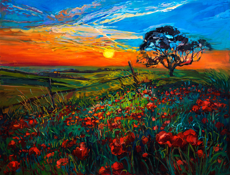 sunset painting: Original oil painting of Opium poppy( Papaver somniferum) field in front of beautiful sunset  on canvas.Modern Impressionism