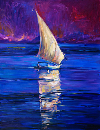 impressionism: Original oil painting of sail ship and sea on canvas.Modern Impressionism