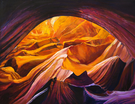 peinture rupestre: Peinture � l'huile originale du Grand Canyon dans une grotte sur canvas.Modern impressionnisme