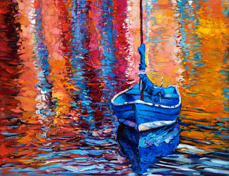 Original oil painting of boats and jetty(pier) on canvas.Rich golden Sunset over ocean.Modern Impressionism Foto de archivo