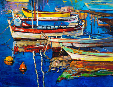 sea port: Original oil painting of boats and jetty(pier) on canvas.Rich golden Sunset over ocean.Modern Impressionism Stock Photo