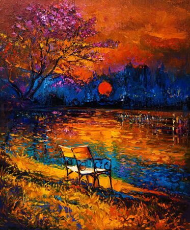 decorative urn: Original oil painting showing beautiful Autumn forest,lake and bench on canvas. Modern Impressionism