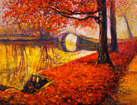 Original oil painting showing beautiful Autumn park and lake on canvas. Modern Impressionism
