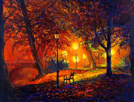 Origineel olieverfschilderij toont mooie herfst park, meer en bank op canvas. Modern Impressionisme