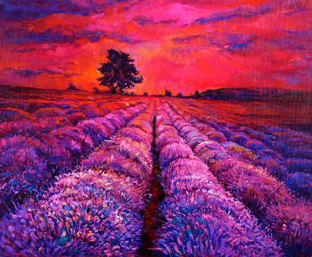 Peinture à l'huile originale de champs de lavande sur canvas.Modern impressionnisme Banque d'images