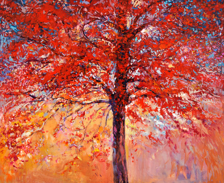 original design: Original oil painting showing beautiful Autumn tree on canvas. Modern Impressionism Stock Photo