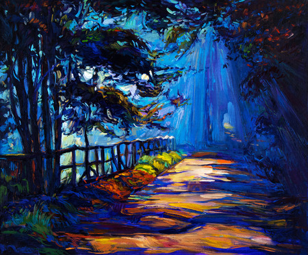 Original oil painting showing beautiful Autumn park at night on canvas. Modern Impressionism