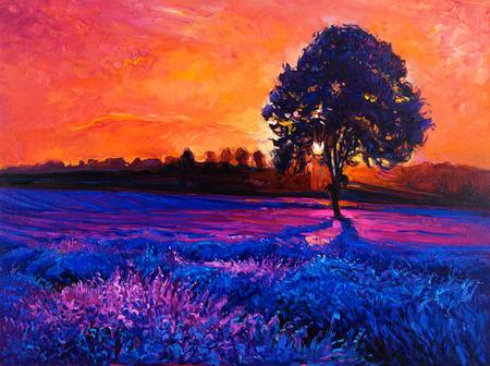 La peinture à l'huile originale de champs de lavande sur canvas.Modern impressionnisme