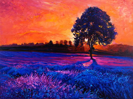 lavender oil: Original oil painting of lavender fields on canvas.Modern Impressionism