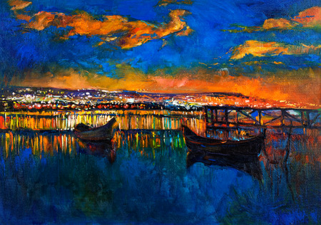 Original oil painting of boats and jetty(pier) on canvas.Rich golden Sunset over ocean.Modern Impressionism Stockfoto
