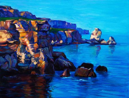 Pintura al óleo original del Océano y acantilados en canvas.Rich Puesta de sol de oro sobre ocean.Modern Impresionismo