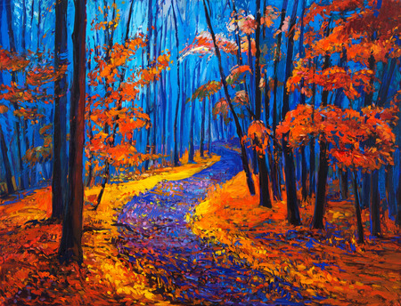 oil park: Original oil painting showing beautiful Autumn forest on canvas. Modern Impressionism Stock Photo