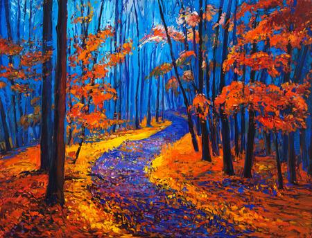Origineel olieverfschilderij met mooie bos van de herfst op canvas. Modern Impressionisme