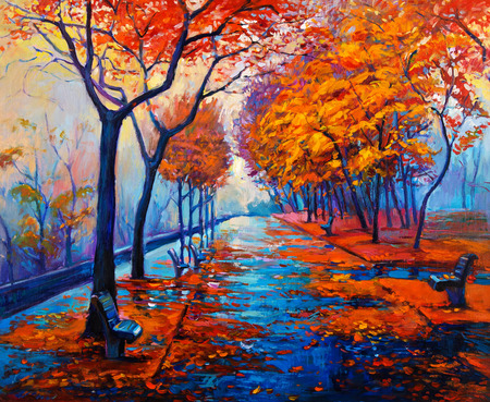 Original oil painting showing beautiful Autumn park with empty  benches on canvas. Modern Impressionism