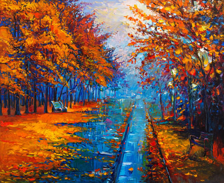 abstract painting: Original oil painting showing beautiful Autumn park with empty  benches on canvas. Modern Impressionism