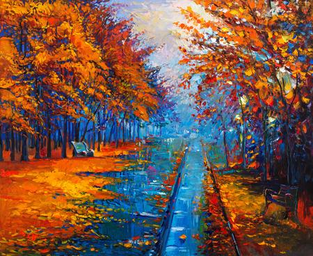 Ursprüngliches Ölgemälde, die schöne Herbstpark mit leeren Bänke auf Leinwand. Moderne Impressionismus Standard-Bild - 37929134