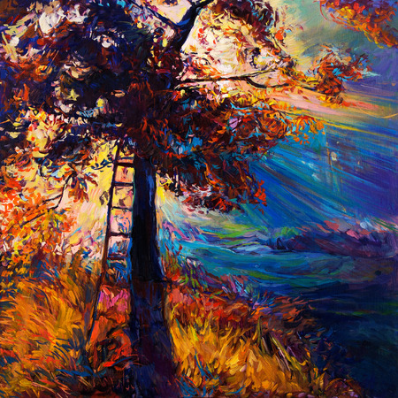Original oil painting showing beautiful Autumn tree on canvas. Modern Impressionism Stock Photo